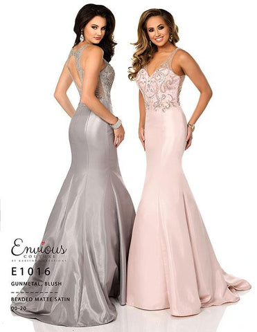 Envious Couture E 1016 Gunmetal Size 10 Prom Dress Pageant Gown