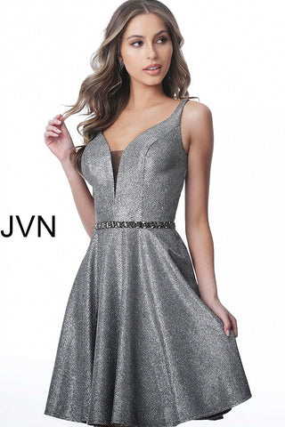 JVN2299 embellished waistline fit and flare homecoming dress