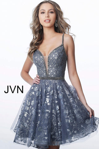 JVN4298 plunging neckline fit and flare homecoming dress
