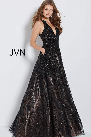 JVN60641 A line sequin embellished prom dress