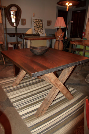 Salvaged Yellow Pine X-Style Base Dining Table with Hammered Steel