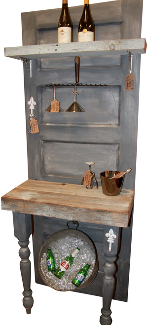 Vintage Door Bar with reclaimed wood and Annie Sloan Paris Grey Chalk Paint®