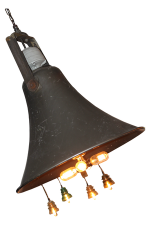 Industrial Salvaged Speaker from a school, Upcycled into a Light complete with Edison bulbs