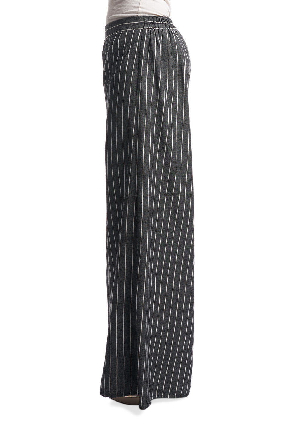 Striped Palazzo Pants in Black