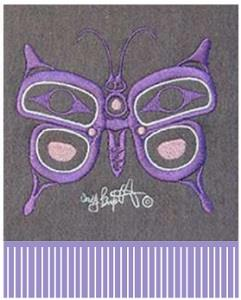 Merino wool scarf with butterfly design by Corey Bulpitt