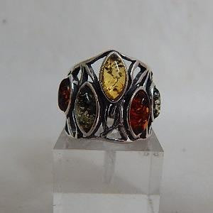 Front View of Amber Ring with 5 Marquis Stones