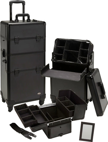 Pro 2 in 1 Makeup Case 4 Wheeled Spinner w/ Adjustable Dividers