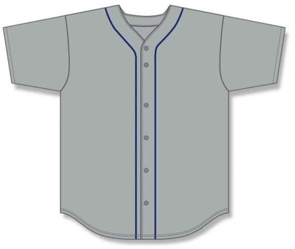 Athletic Knit (AK) BA5500 Detroit Grey Full Button Baseball Jersey