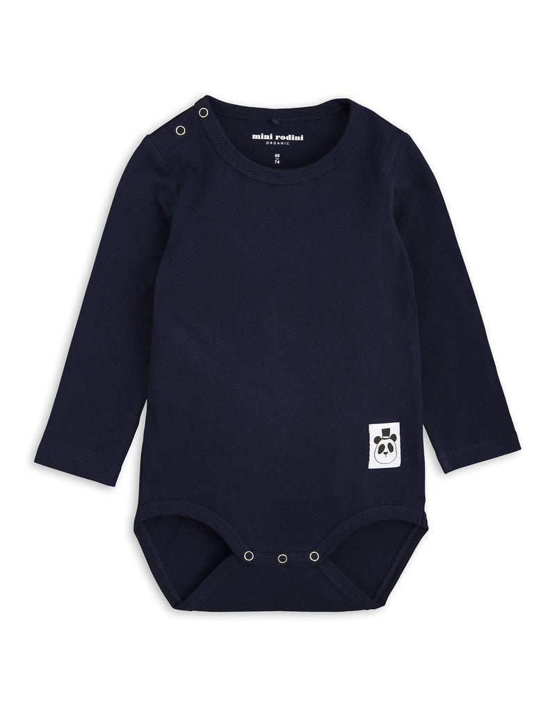 Mini Rodini Basic Navy Organic LS Bodysuit Afterpay Cool Baby Clothes