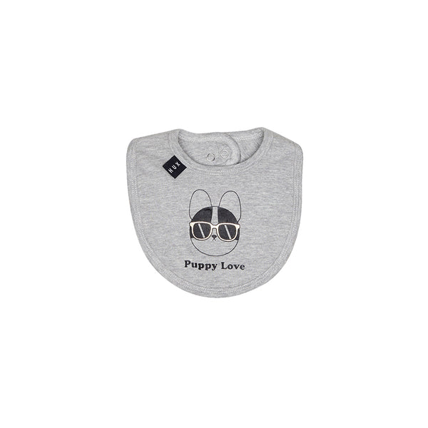 Huxbaby Organic Puppy Love Bib Grey Marle Cool Baby Clothes Online Australia Afterpay