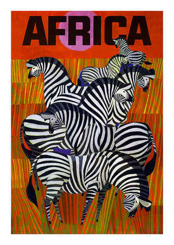 Africa Zebras, Sk SA 19. Poster in a 3mm Supawood board.