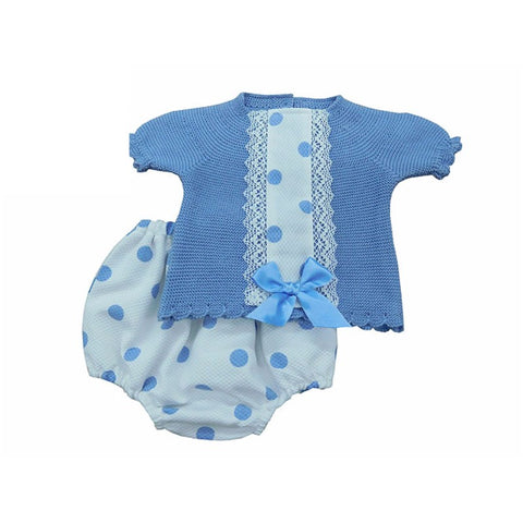 Blu Traditional Spanish Girls Knit Jam Pants Set - Doodles and Daisy Chains - Spanish Baby Clothes - Classic Baby Boutique