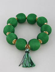 Lars Threaded Bead Tassel Bracelet - Green