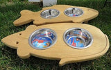 CAT FEEDER Handmade Elevated Wood Mouse or Fish Shaped with Steel Bowls