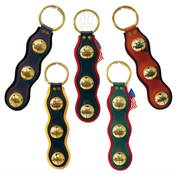 2 LAYER LEATHER STRAP w/ 3 SOLID BRASS SLEIGH BELLS - 5 Colors - Amish Handmade USA