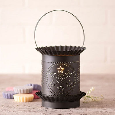 JUMBO PUNCHED TIN WAX TART WARMER Handmade STARS in CIRCLES Accent Light