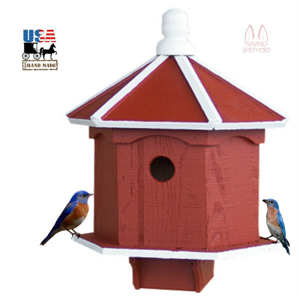 2 ROOM BLUEBIRD BIRD HOUSE - Hexagon Double Birdhouse Amish USA