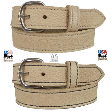 BEIGE LADIES BULLHIDE LEATHER STITCHED BELT - Choice of Stitching - Handmade in USA