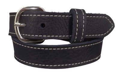 LADIES NAVY BLUE BULLHIDE LEATHER STITCHED BELT - Choice of Stitching - Handmade in USA