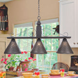 BAR ISLAND LIGHT Large Wood & Wrought Iron Fixture with Punched Tin Shades