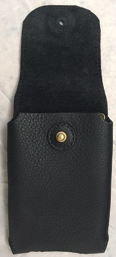 HANDMADE LEATHER PHONE CASE & WALLET Large Belt Holster Sleeve iPhone6+ etc in BLACK