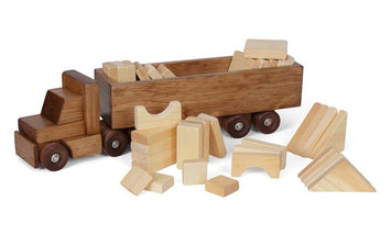 WOOD CARGO TRUCK with WOOD BLOCK LOAD Handmade Tractor Trailer & Building Blocks Made in USA
