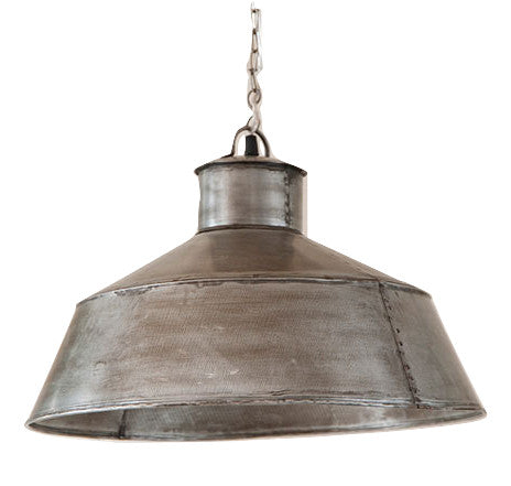 LARGE SPRINGHOUSE PENDANT - Country Light in Antique Polished Tin Finish