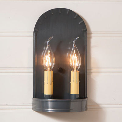 Double Candle Colonial Arch Sconce Handcrafted in Country Tin
