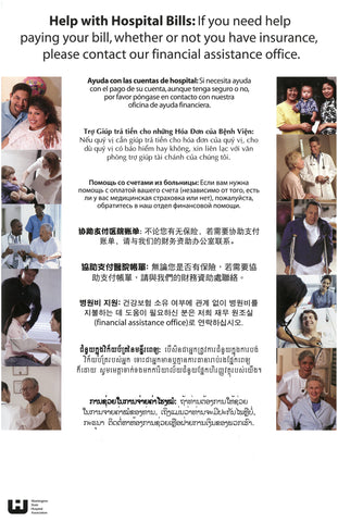 Financial Assistance Signs: Eight Languages