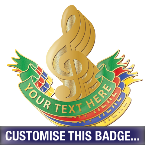 Personalised Music Clef Badge by School Badges UK