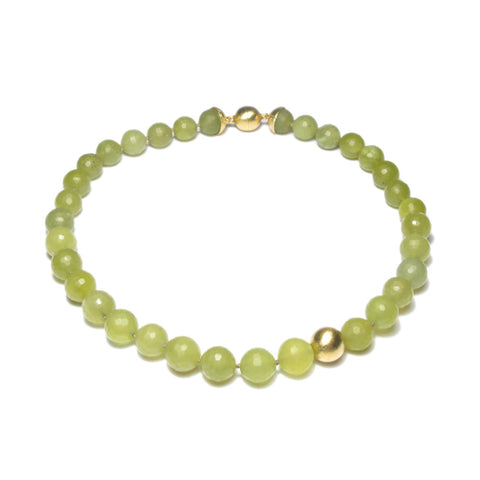 Faceted Olive Serpentine Bead Necklace