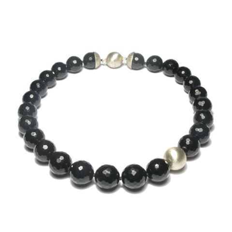 Faceted Onyx Bead Necklace