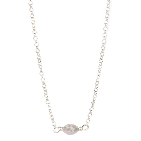 9ct White Gold necklace with oval grey diamond bead