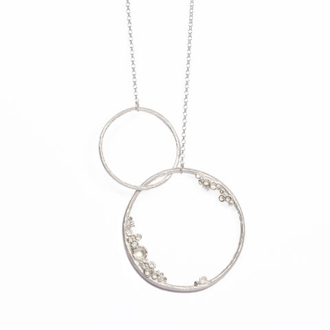 Large Silver 'Emerge' Double Hoop Necklace