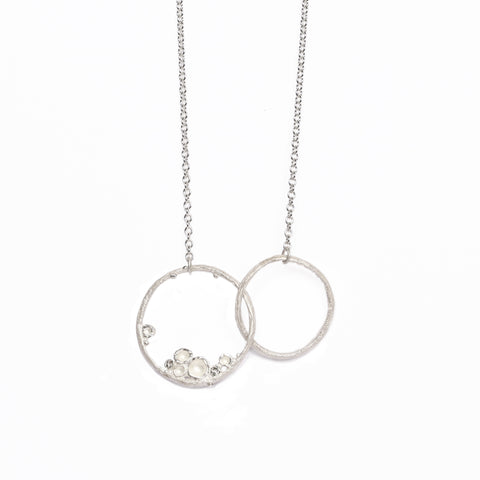Small Silver 'Emerge' Double Hoop Necklace
