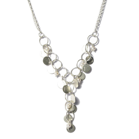 Silver 'and on' Disc and Pearl Necklace