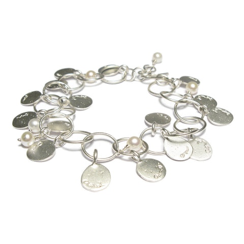 Silver Pearl and Disc Bracelet