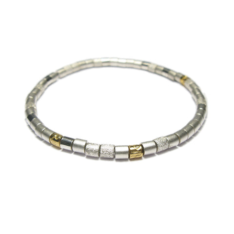 Silver and Yellow Gold Bead Bracelet