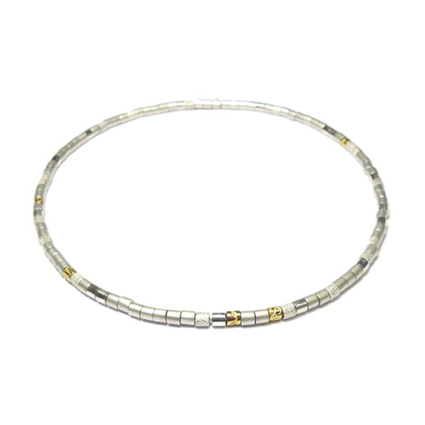 Silver and 24ct Yellow Gold Bead Necklace