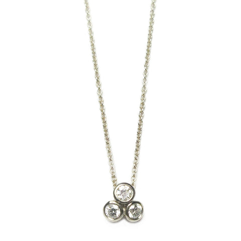 18ct White Gold and Three Diamond Necklace
