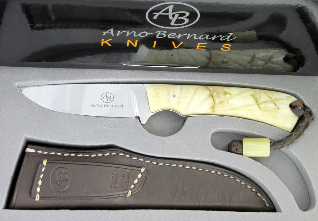 Arno Bernard Knives Badger Fixed Blade Knife Sheep Horn Handle 7304