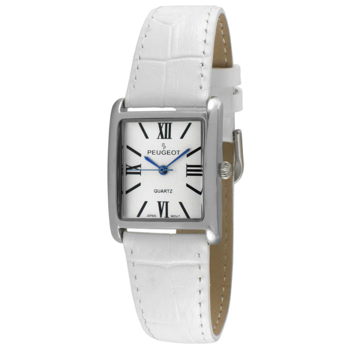 The Roma Women's Leather Watch by Peugeot- Silver/White - Peugeot Watches