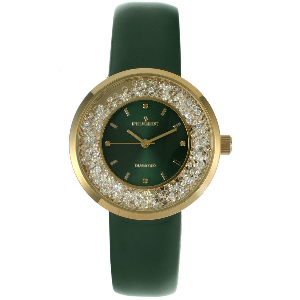Women 32mm Floating CZ  Diamond Dial