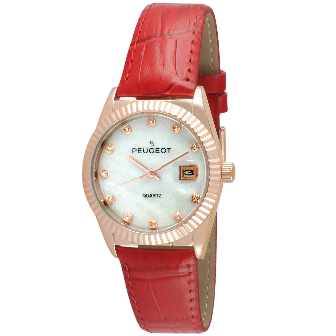 Women 36mm Fluted Bezel Leather Strap