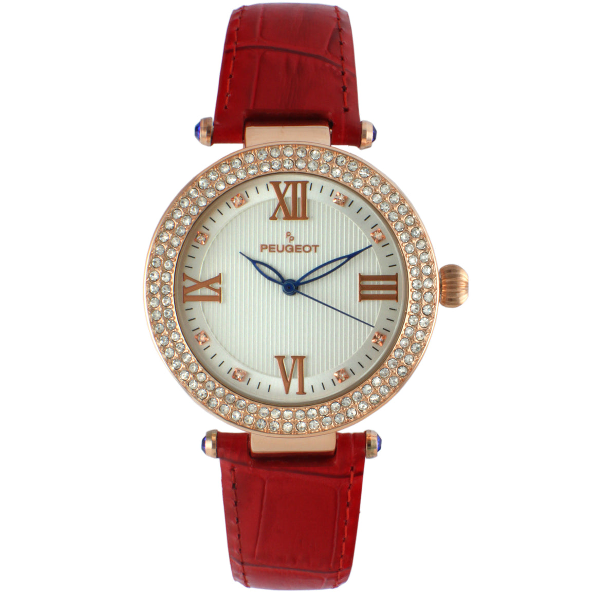 Women 38mm Crystal Bezel Leather Strap