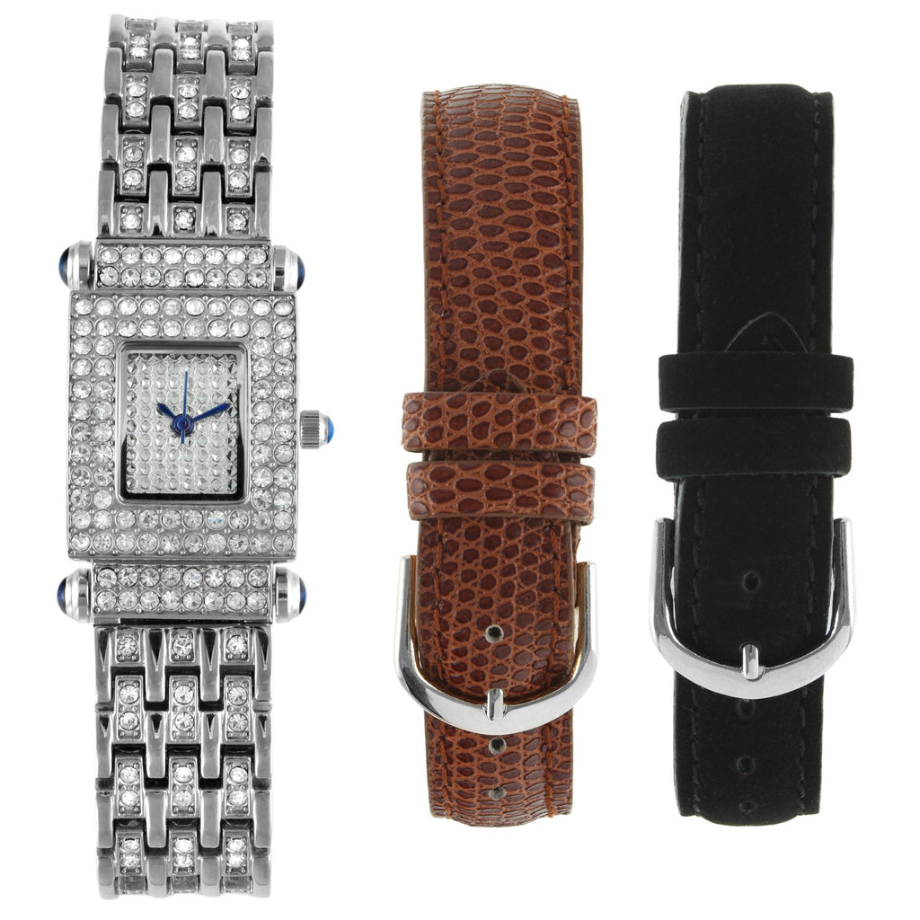 Women Interchangeable Strap Crystal Pave Dial Gift Set Watch