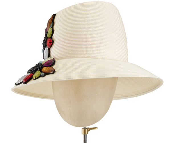 The Voss Derby (Cream) - hat designed by LD Carey Designs - Rent The Races  - 1