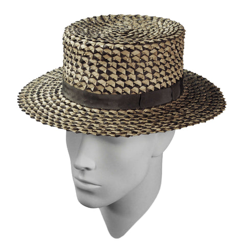 Olive twist boater hat