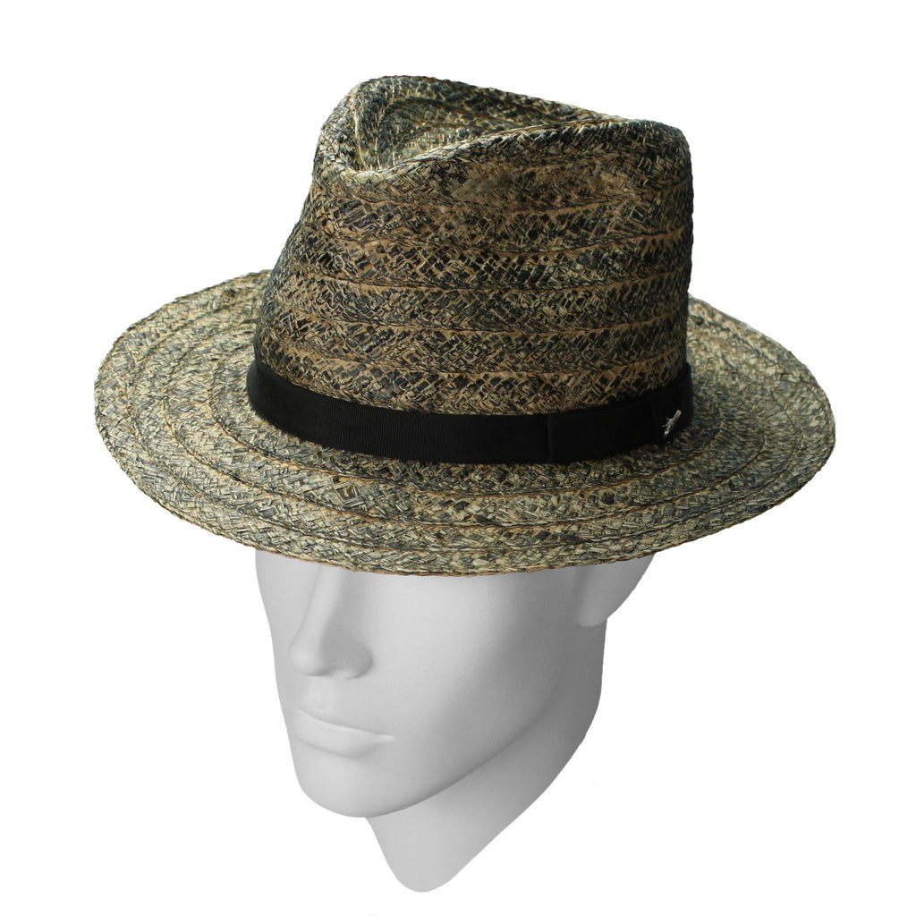 Baltic ink-rubbed straw fedora - Robust, relaxed styling and distinctive 'ink-rubbed' art finish. This unique hat is trimmed with a black band and Boylan Headwear badge.