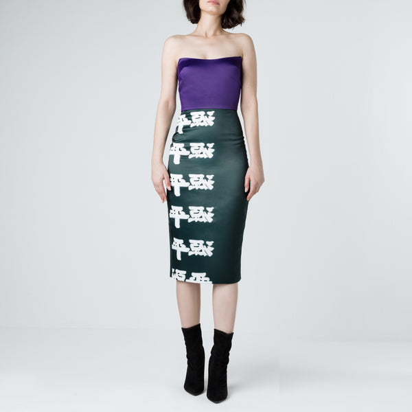 Japanese Letters Strapless Color Block Dress